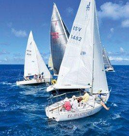 St. Croix International Regatta:Beating towards the mark in the Buck Island Channel. Photo: Ellen Sanpere
