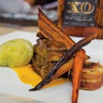 BVI Charter Show Culinary Competition: Chef Richard 'Richie' West, Lady Katlo: Entree-RumGlazed Slow Roast Pork Belly & Braised Pig Tail with Butternut Squash, Sweet Potato, and Ginger Purée. Photo: Paul Hubbard / Rainbow Photography