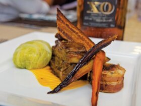 BVI Charter Show Culinary Competition: Chef Richard 'Richie' West, Lady Katlo: Entree - Rum Glazed Slow Roast Pork Belly & Braised Pig Tail with Butternut Squash, Sweet Potato, and Ginger Purée. Photo: Paul Hubbard / Rainbow Photography