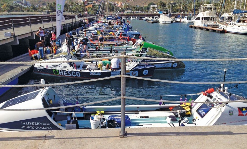 "Atlantic Challenge Race ""World's Toughest Row"": The fleet of boats before the start"