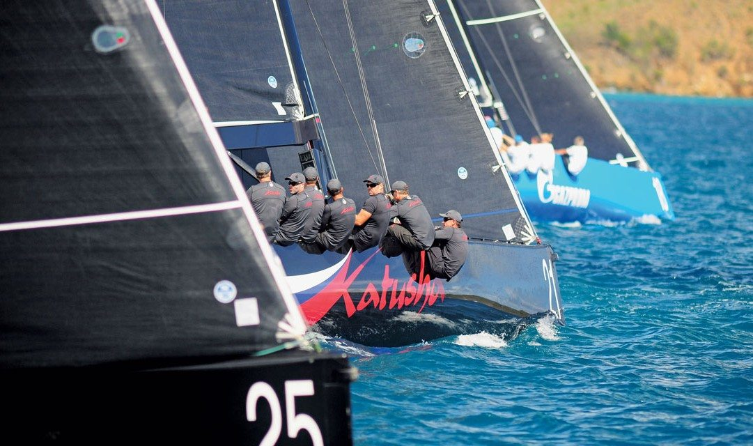 Hitching a Ride on a RC44: A race gets under way during the fleet racing segment of the regatta in Virgin Gorda. Photo: Todd VanSickle