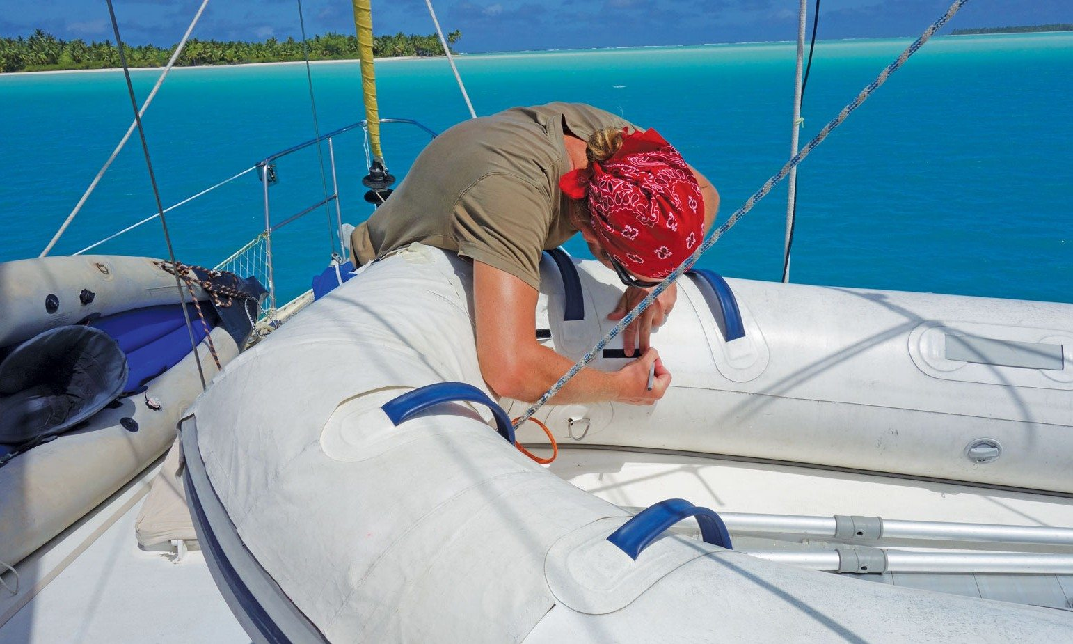 A Cruiser's DIY Toolbox: Working on the dinghy cover