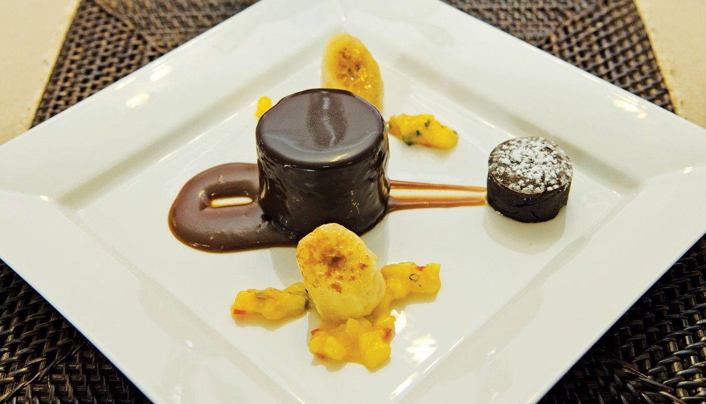 BVI Charter Show Culinary Competition: Chef Richard 'Richie' West, Lady Katlo: Dessert - Rich Chocolate Rum Cake with Glazed Banana & Mini Chocolate Fondant. Photo: Paul Hubbard / Rainbow Photography
