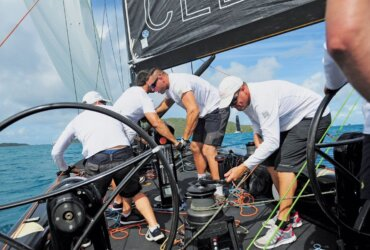 RC44 Youth Program: Team CEEREF prepares to raise the sails prior to the start of a race. Photo: Todd VanSickle