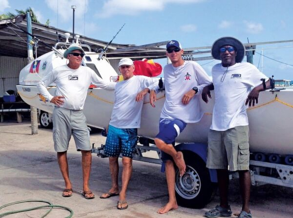 "Team Wadadli: Atlantic Challenge Race ""World's Toughest Row"", The men from Antigua (from left): Nick Fuller, Peter Smith, JD Hall and Archie Bailey"