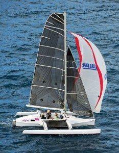 Multihulls in Caribbean Regattas: St. Croix's Joe San Martin sailing his Piglet, aT-Gull 23, in the BVI Spring Regatta. Photo:ToddVanSickle / BVI Spring Regatta