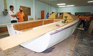 We built a race boat!: In the school workshop. Photo: OceanMedia
