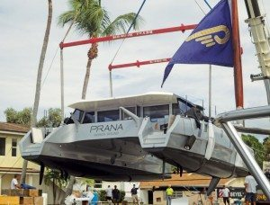 Hauling Out Catamarans in South Florida: PRANA a Gunboat 60 utilizing the crane lift. Courtesy of Hinckley What boatyards can handle Catamarans