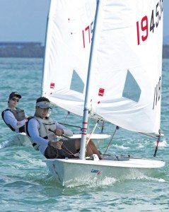 Pan Pepin International Dinghy Regatta: BVI's Jason Putley leads Puerto Rico's Julio Rojo in Laser Radial class. Photo credit: Carlos Lee