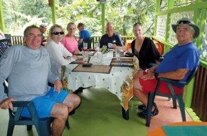 Dominica Yachtie Appreciation Week: Thomas 'Tom' Jacobs and his wife, Barbara Cunningham (far right) with a tourgroup at the River Rock Cafe