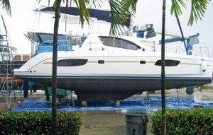 Hauling Out Catamarans South Florida: Courtesy of Broward Shipyard