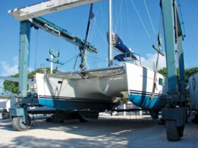 Hauling Out Catamarans South Florida: Courtesy of Catamaran Boatyard