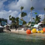 Cruzan Rum and Presidente flags fly over the water at the St. Thomas Yacht Club. Credit: Dean Barnes