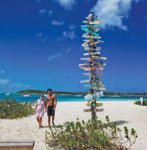 George Town, Bahamas: Paradise found At the Centre of Chat 'n' Chill Beach you'll find directions to everywhere. Photo by Rosie Burr