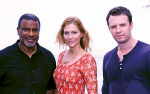Caribbean movie destinations: Bahamas Film Commissioner Craig Woods on the set of the feature film Isolation with stars Tricia Helfer and Luke Mably. Photo courtesy of Bahamas Film Commission