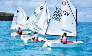 Bill Chandler Memorial Regatta: Optis in action … winner Lola Kohl is in boat 7