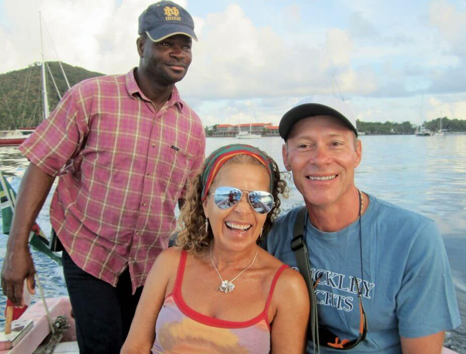Indian River tour Dominica: Martin, Monica and Johnathan begin their adventure on the Indian River. Photo by Monica Pisani