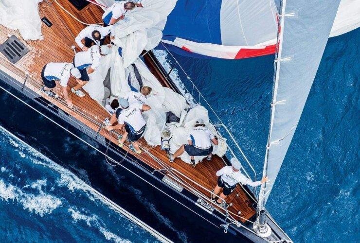 Loro Piana Superyacht Regatta: The crew of Class A winner Nilaya work the spinnaker