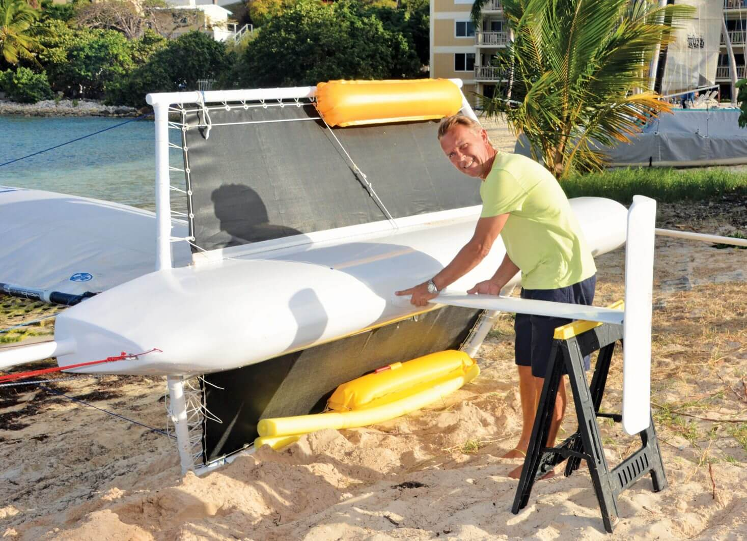 Tom Kozyn adds the finishing touches to the monohull hydrofoiler