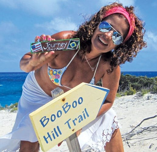 Warderick Wells Bahamas :The author on the trail to Boo Boo Hill. Photo by Monica Pisani