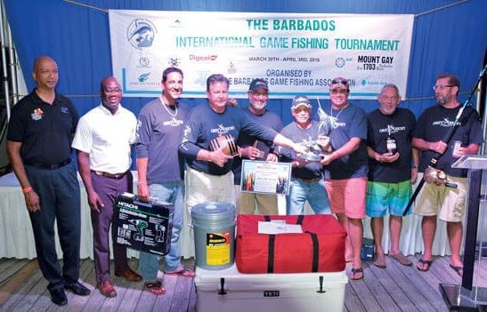 Champion Boat, Grey Ghost, from Barbados with owner Greg Ward (fourth from right). Photo courtesy of Barbados Game Fishing Association