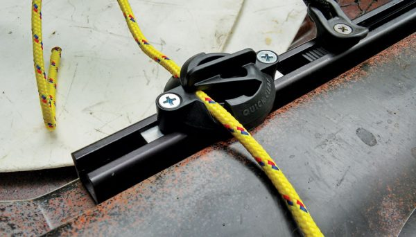 All At Sea New Products: 3-Quick-Cleat-mounted-on-bow-rail-of-fishing-kayak_hr