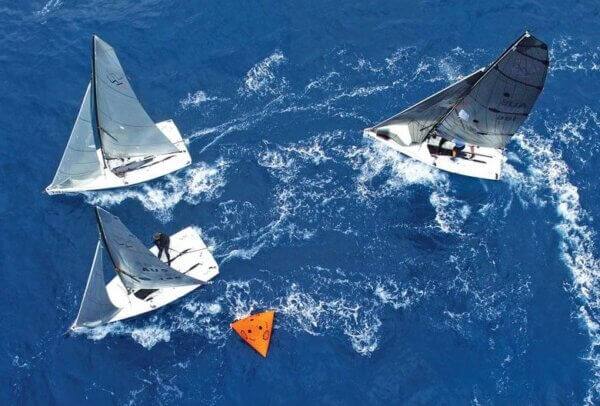VX One Class: One-design racing makes for close racing at the mark. Photo by Todd VanSickle