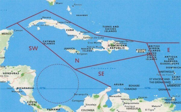 "Lesser Antilles Cruising Guides: Caribbean quadrants map taken from ""A Thinking Man's Guide to Cruising the Caribbean"""