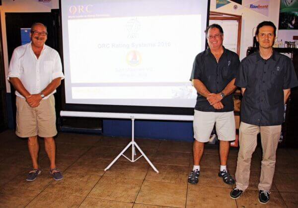 Offshore Racing Congress St Maarten : ORC presentation at the Sint Maarten Yacht Club, from left: Paul Miller, Zoran Grubisa and Dobbs Davis. Photo: OceaMedia