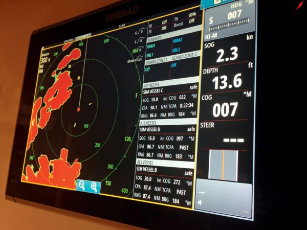 New Radar Technology : Simrad radar display. Photo: Glenn Hayes