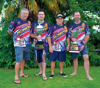 powerboating events : Trinidad and Tobago cockpit crew of Total Monster with throttle man Peter Peake (far left)