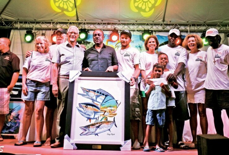 Top Teams Antigua Fishing : The team from Vitamin B take the podium. Credit: Micheal Simon