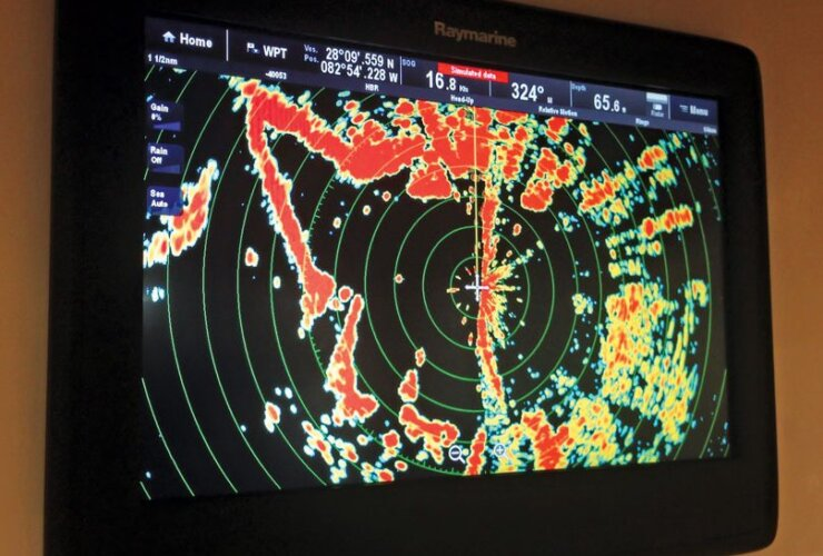New radar technology : Raymarine radar display. Photo: Glenn Hayes