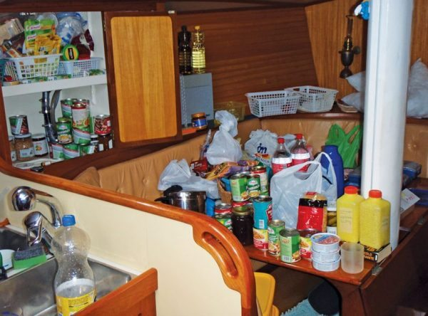 Provisioning chaos – everything is listed before stowing away. Photo by Birgit Hackl