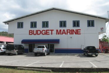 The outside of the Budget Marine in Trinidad