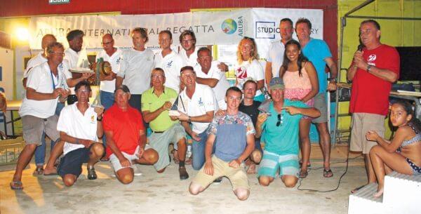 On the podium at the Aruba International Regatta