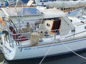 Journey fitted out with solar panels for 'sailing green'. Photograph by Monica Pisani