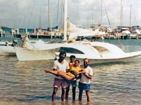Trimaran Alien in St Croix with Jody Colbert, Scooter Mejia, Scottish Katie, and Joe Colpitt