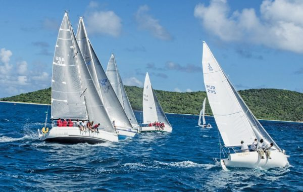 24th St. Croix International Regatta Spinnaker Class race in the Buck Island Channel. Photography by Emelyn Morris Sayre