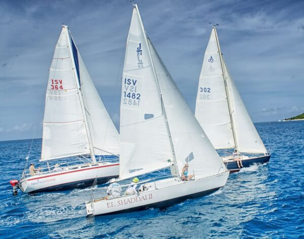 24th St Croix International Regatta Non-Spinnaker Race boats sail in the Captain Nick race, with Chris Stanton's Margaret leading the pack. Photography by Emelyn Morris Sayre