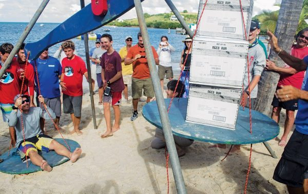 24th St. Croix Internatioal Regatta Scott Stanton wins his weight in Cruzan Rum – Five cases. Photography by Emelyn Morris Sayre