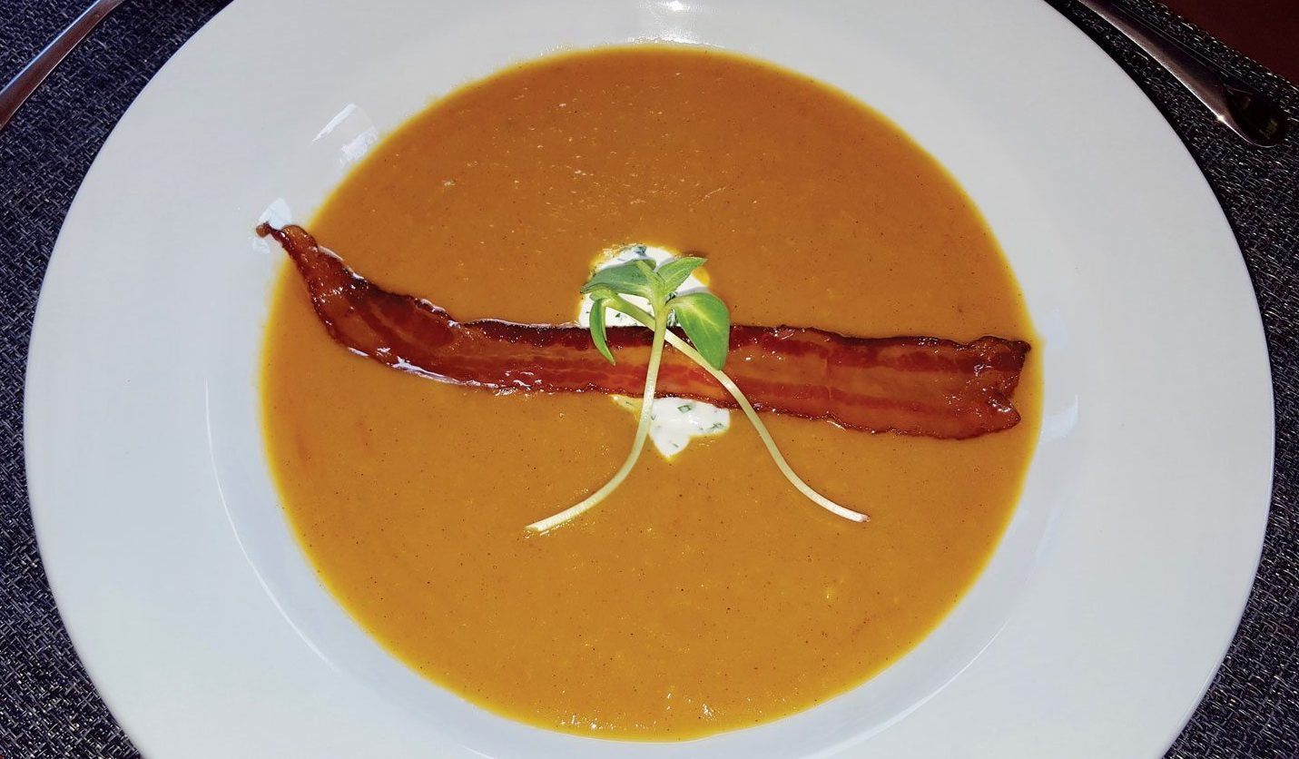 Chrizaan Troch of the yacht Xenia 62 won the appetizer category with this delicious spicy coconut and Sweet Potato Soup with Cilantro Crème Fraiche and rum Glazed Bacon. Photos by Paul Hubbard, Rainbow photography, BVI
