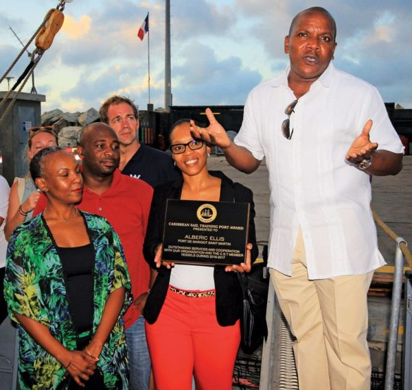 Marigot Port Director Albéric Ellis and team received the Caribbean Sail Training Association Port Award for the second time. OceanMedia photo