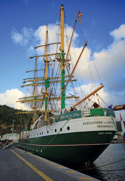 Alexander von Humboldt II alongside in Marigot during Sail St. Martin Open Ship Day