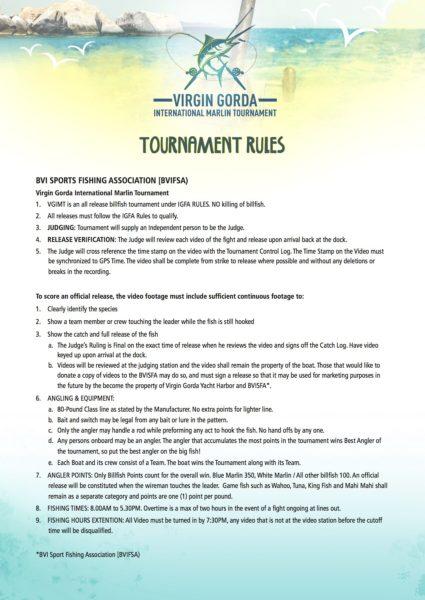 Virgin Gorda International Marlin Tournament Rules