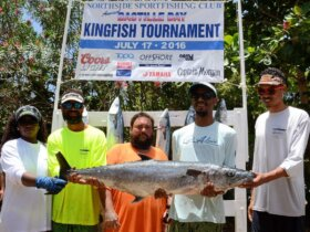 L to R: Tamika Turbe (Third Largest Kingfish and Best Female), Captain Alvin Turbe (Best Captain), Gerald Greaux, Jr, Gilbert Laban (Largest Kingfish and Best Male Angler) and Joshua Laban. Credit: Dean Barnes