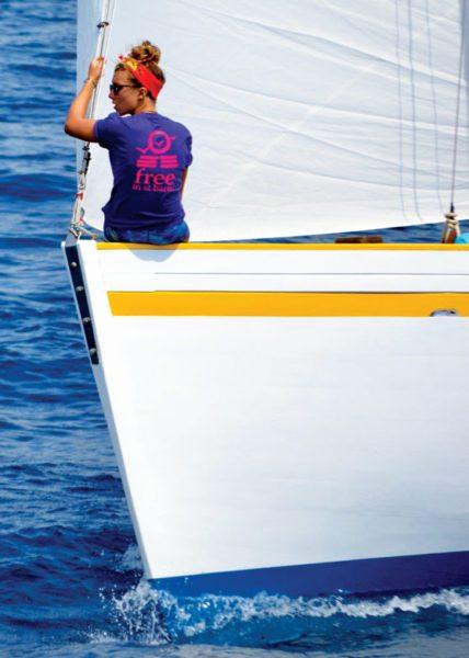 Arden Astin, crewed on Free during the Antigua Classic Yacht Regatta 2016. Photo: Jan Hein