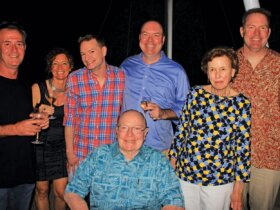 Island Water World celebrates 50 years in business (from left): managing director Sean Kennelly, group general manager Birgit Röthel and Jaime Tyree with members of the company's founding family; Bert Dickerson, Chet Dickerson, Sally Dickerson and Jim Dickerson (sitting). Photo Gary Brown/OceanMedia