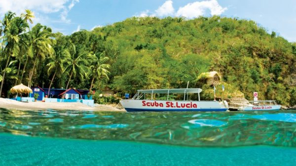 Dive boat, Anse Chastanet, St Lucia. Turner Forte Photography
