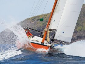 Exodus racing hard. Photo: Kenmore Henville – Bequia Photo Action